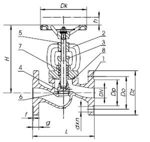 Zetkama Elzárószelep 215 típus méretezési rajz