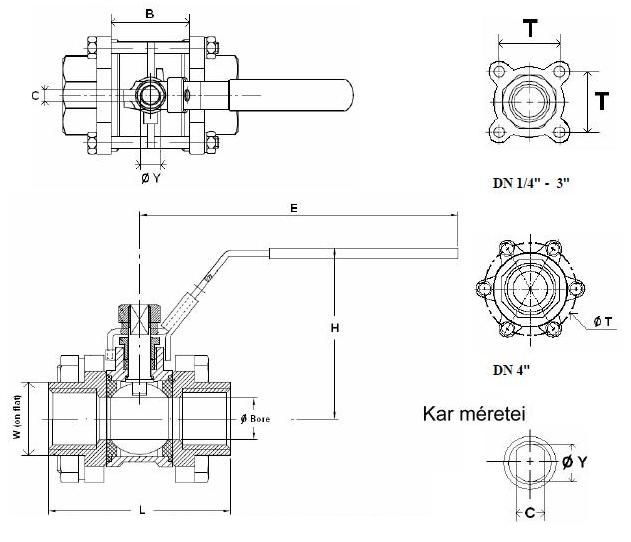 790 típusú 3 részes menetes gömbcsap méretezési rajz